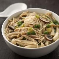 Pea & mushroom dumpling soup